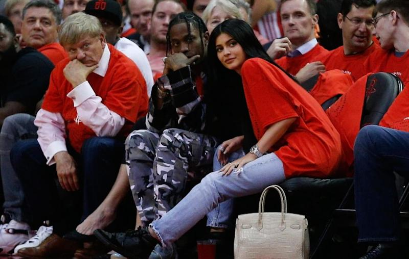 Kylie Jenner and boyfriend Travis Scott are reportedly expecting their first baby too. The pair are pictured in April. Source: Getty