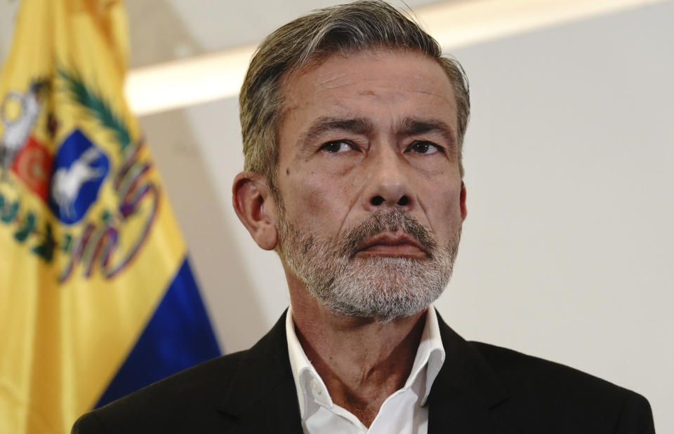 Venezuelan opposition delegate Gerardo Blyde Pérez pauses during a press conference in Mexico City, Monday, Sept. 27. 2021. Delegates from Venezuela's government and opposition held more talks in Mexico City on Monday after a delay that saw the government's side arrive a day later than scheduled due to an apparent unhappiness with mediator Norway. (AP Photo/Marco Ugarte)