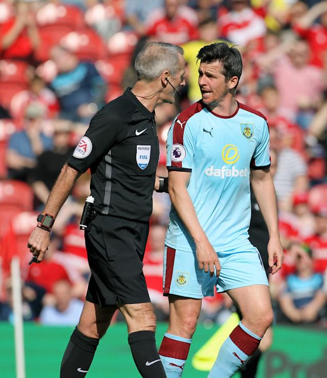 <p>Burnley's Joey Barton makes a point to the referee</p>