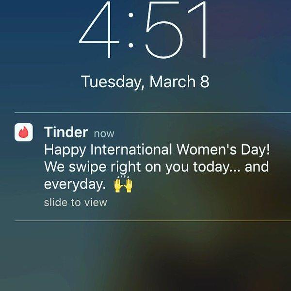 <p>A message sent to Tinder users on International Women's Day last year was quickly criticised as being insensitive and sexist. Photo from Twitter. </p>