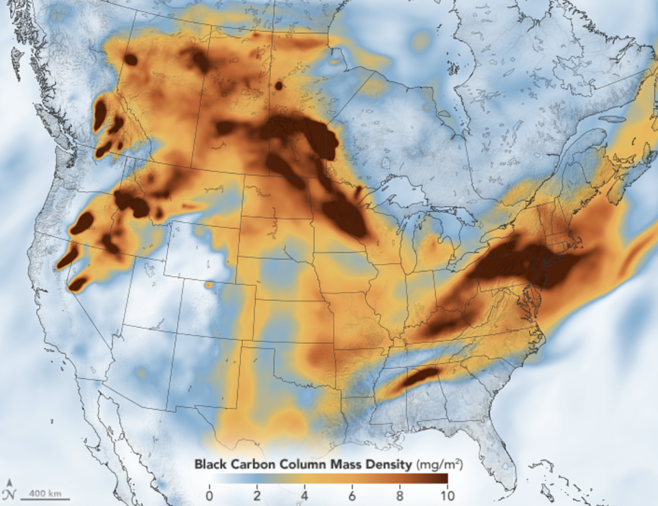 The map shows the  black carbon particulates, or soot, over the US on July 21. Source: NASA Earth Observatory