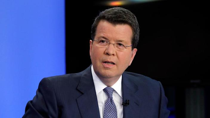 """Mandatory Credit: Photo by Richard Drew/AP/Shutterstock (10320528a)Anchor Neil Cavuto of """"Cavuto: Coast to Coast,"""" on the Fox Business Network, is photographed in New YorkNel Cavuto, New York, USA - 24 Jun 2019."""