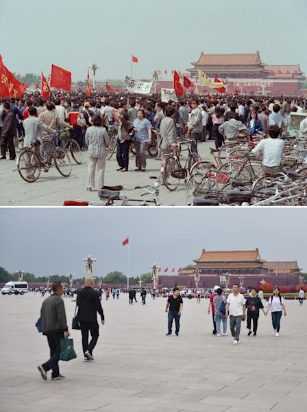 Heavy surveillance and tight policing make it difficult for a repeat of protests like the 1989 Tiananmen pro-democracy movement (Tiananmen Square shown in May 1989 (top), and now) (AFP Photo/Greg Baker, Toshio SAKAI)
