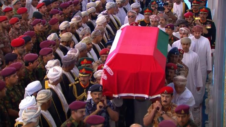 Omani military carried the coffin of Sultan Qaboos during his funeral in the capital Muscat