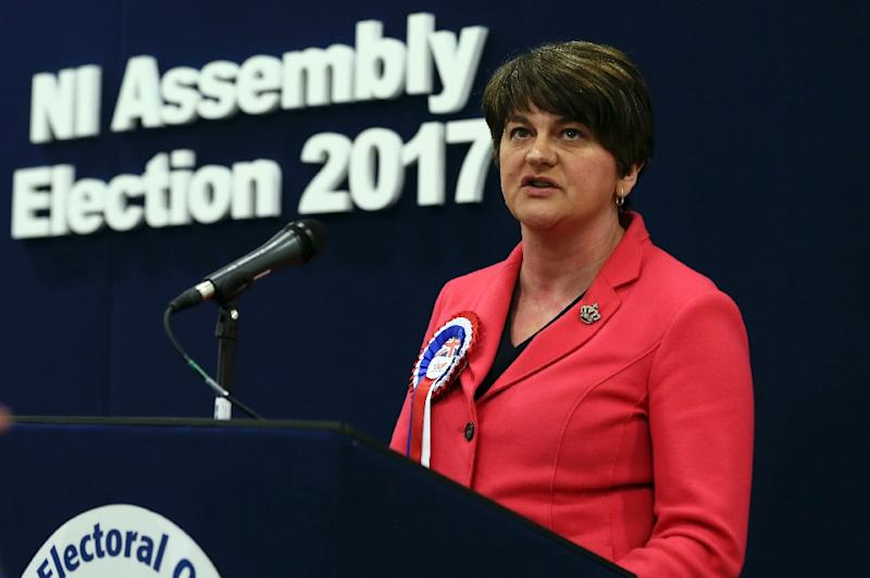 "Democratic Unionist Party leader Arlene Foster spoke of ""challenging"" results in Northern Ireland's snap election, conceding it had been ""a very good day for Sinn Fein"" (AFP Photo/Paul FAITH)"