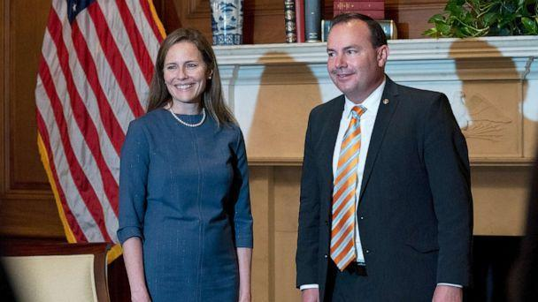 PHOTO: Judge Amy Coney Barrett, President Donald Trump's nominee to the Supreme Court, poses with Sen. Mike Lee, Sept. 29, 2020, at the Capitol in Washington. (Stefani Reynolds/AP)