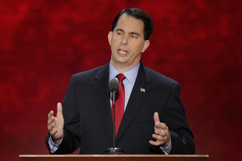 Wisconsin Gov. Scott Walker addresses Republican National Convention in Tampa, Fla., on Tuesday, Aug. 28, 2012. (AP Photo/J. Scott Applewhite)