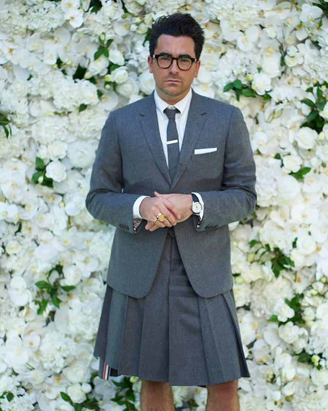 "<p>Dan Levy barely had a chance to sit down between collecting a bushel of trophies, but that just meant more opportunities to show off his crisply sharp Thom Browne kilted suit with coordinating boots and knee socks. (Shoutout to his matching facemask, too!)</p><p><a href=""https://www.instagram.com/p/CFYIGf9DFnh/?utm_source=ig_embed"" rel=""nofollow noopener"" target=""_blank"" data-ylk=""slk:See the original post on Instagram"" class=""link rapid-noclick-resp"">See the original post on Instagram</a></p>"