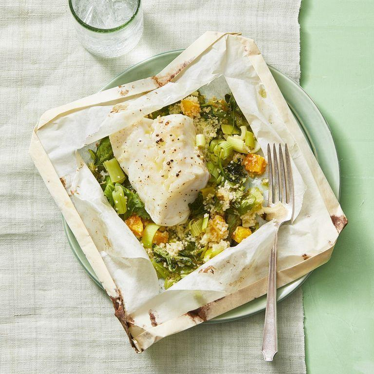 """<p>Cooking with parchment paper steams your food, which means it's much lower in fat compared to cooking with oil. And it also makes your cleanup much easier. A total win-win!<br></p><p><em><a href=""""https://www.womansday.com/food-recipes/a30392806/cod-in-parchment-with-orange-and-leek-couscous-recipe/"""" rel=""""nofollow noopener"""" target=""""_blank"""" data-ylk=""""slk:Get the recipe for Cod in Parchment With Orange-and-Leek Couscous"""" class=""""link rapid-noclick-resp"""">Get the recipe for Cod in Parchment With Orange-and-Leek Couscous</a>.</em></p>"""