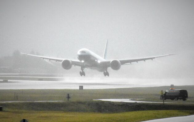Boeing's 777X jet takes off for its first flight in January. (GeekWire Photo / Alan Boyle)
