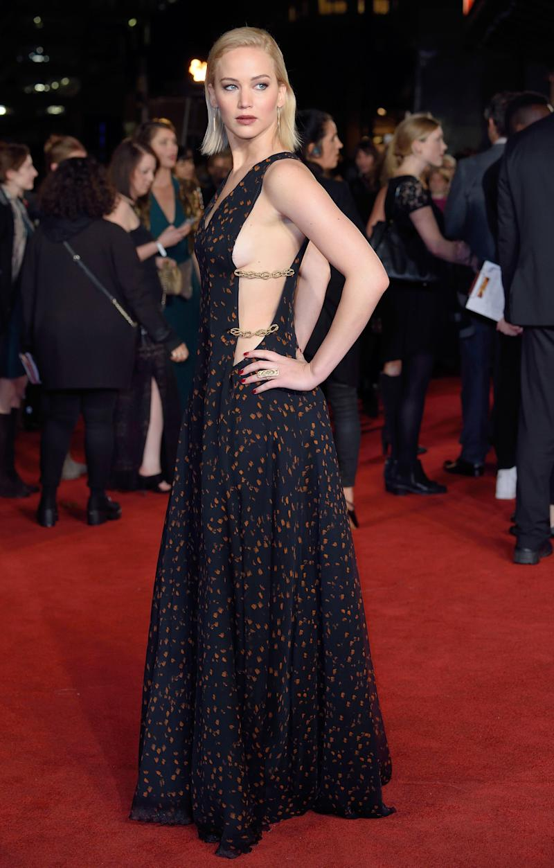 Baring side-boob in a Dior couture gown with embellished cutouts, the actress attended The Hunger Games: Mockingjay, Part 2 UK premiere in London.