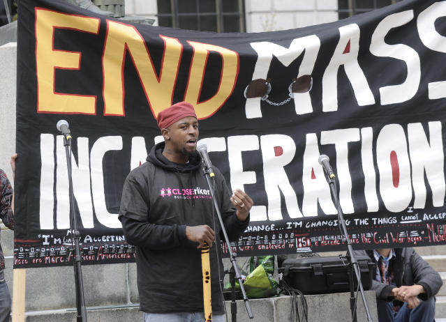 Lashawn Marston, a member of Just Leadership USA, protests with organizations demanding prison justice urge Governor and the State Legislature to overhaul New York State parole and incarceration policies and practices by passing the SAFE Parole Act during a rally at the state Capitol on Wednesday, May 10, 2017, in Albany, N.Y. (AP Photo/Hans Pennink)