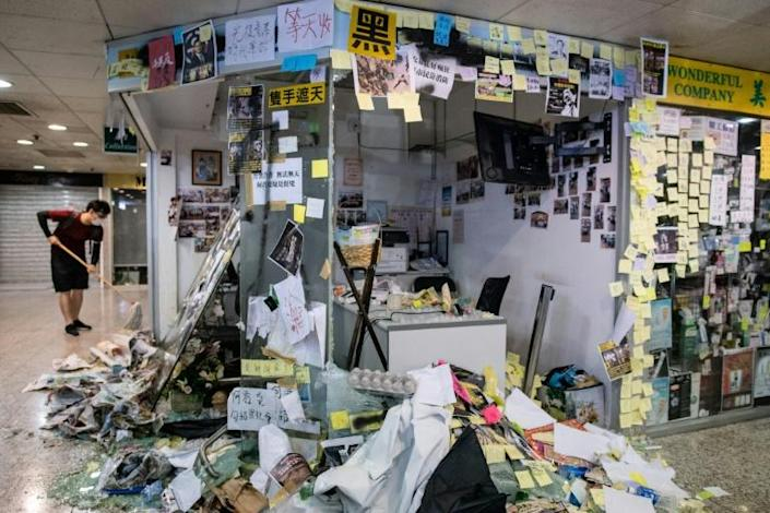 Protesters smashed the office of pro-Beijing government lawmaker Junius Ho in Hong Kong's Tsuen Wan district (AFP Photo/Philip FONG)