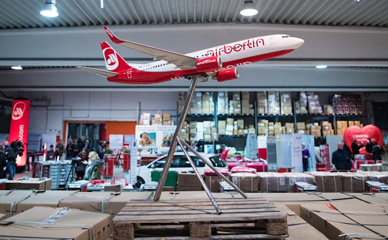 Air Berlin is selling its stock, including model planes, in a warehouse in Essen - This content is subject to copyright.