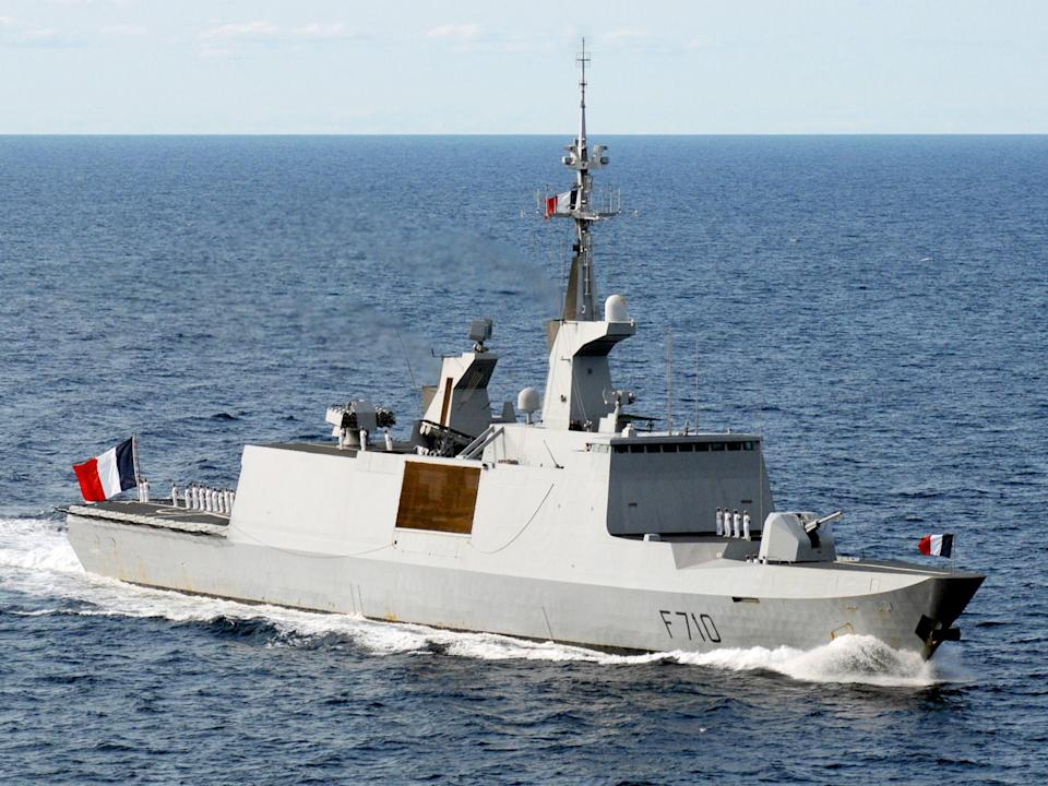 Macron said France would send a Lafayette frigate (pictured) and two Rafale jets to the area: US Navy