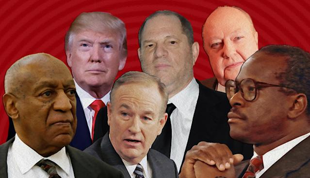 Left to right, Bill Cosby, Donald Trump, Bill O'Reilly, Harvey Weinstein, Roger Ailes, Clarence Thomas. (Photo Illustration: Yahoo News; photos: AP [6], Getty Images)