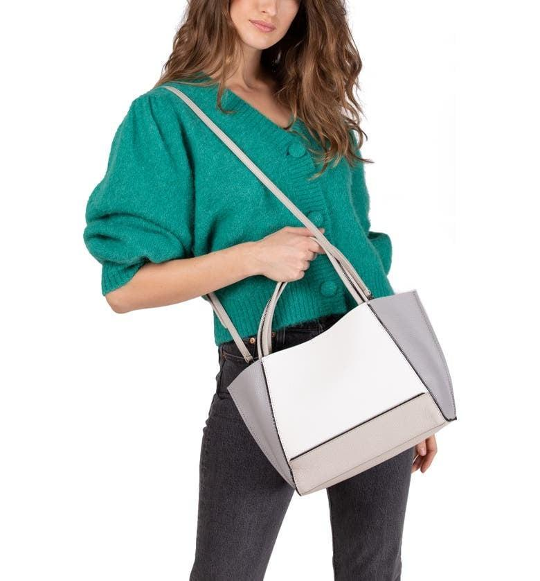 <p>The colorblock style of this <span>Botkier Bite Size Soho Leather Tote</span> ($173, originally $288) is so fun.</p>