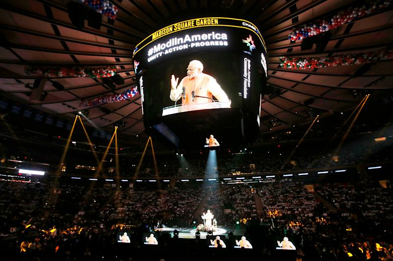 Prime Minister Narendra Modi of India gives a speech during a reception by the Indian community in honor of his visit to the United States at Madison Square Garden, Sunday, Sept. 28, 2014, in New York.