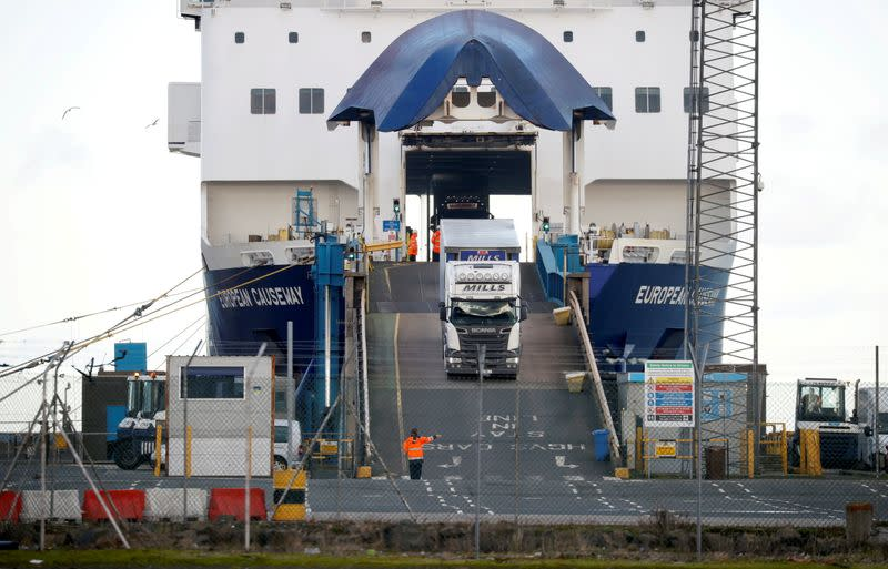 FILE PHOTO: People inspect lorries which arrived at the Port of Larne