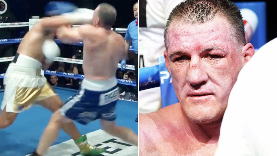 Paul Gallen, pictured here being knocked out by Justis Huni in the 10th round of their heavyweight title fight.