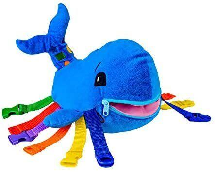 """It snaps, clicks and buckles for teaching all sorts of math, coordination and motor skills. Plus, its mouth doubles as an easy-to-zipper hidden pocket.<br /><br /><strong>Promising review:</strong>""""This is my 2-year-old's new favorite toy. He loves to buckle and unbuckle everything, and use the zipper. Plus, he holds it and plays with it as a normal, very cute fish. I also use it to reinforce colors and shapes to him. When he grows older, I will try teaching him to cross the buckles (some of the colors are the same type of buckle, some are different, but the ones that are the same are just long enough you can cross-connect them).<strong>This is also our favorite new toy because it doesn't drive us crazy while making noise</strong>and it keeps him occupied easily for 15-30 minutes every time! --<a href=""""https://www.amazon.com/dp/B00GCGG6FO?tag=huffpost-bfsyndication-20&ascsubtag=5764152%2C8%2C40%2Cd%2C0%2C0%2C0%2C962%3A1%3B901%3A2%3B900%3A2%3B974%3A3%3B975%3A2%3B982%3A2%2C15993065%2C0"""" target=""""_blank"""" rel=""""noopener noreferrer"""">Bryant Fong</a><br /><br /><strong>Get it from Amazon for <a href=""""https://www.amazon.com/dp/B00GCGG6FO?tag=huffpost-bfsyndication-20&ascsubtag=5764152%2C8%2C40%2Cd%2C0%2C0%2C0%2C962%3A1%3B901%3A2%3B900%3A2%3B974%3A3%3B975%3A2%3B982%3A2%2C15993065%2C0"""" target=""""_blank"""" rel=""""noopener noreferrer"""">$21.99</a>.</strong>"""