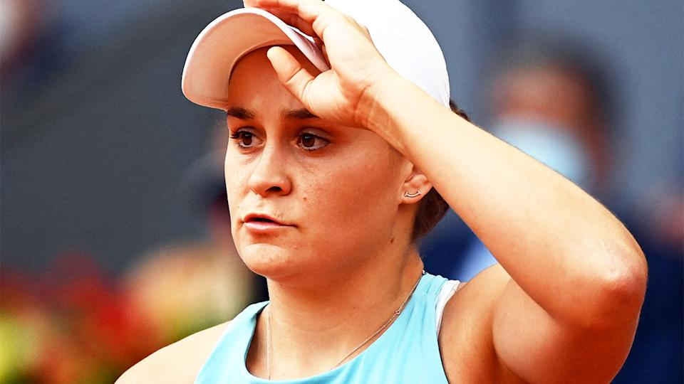 Ash Barty (pictured) looking concerned after losing a point.
