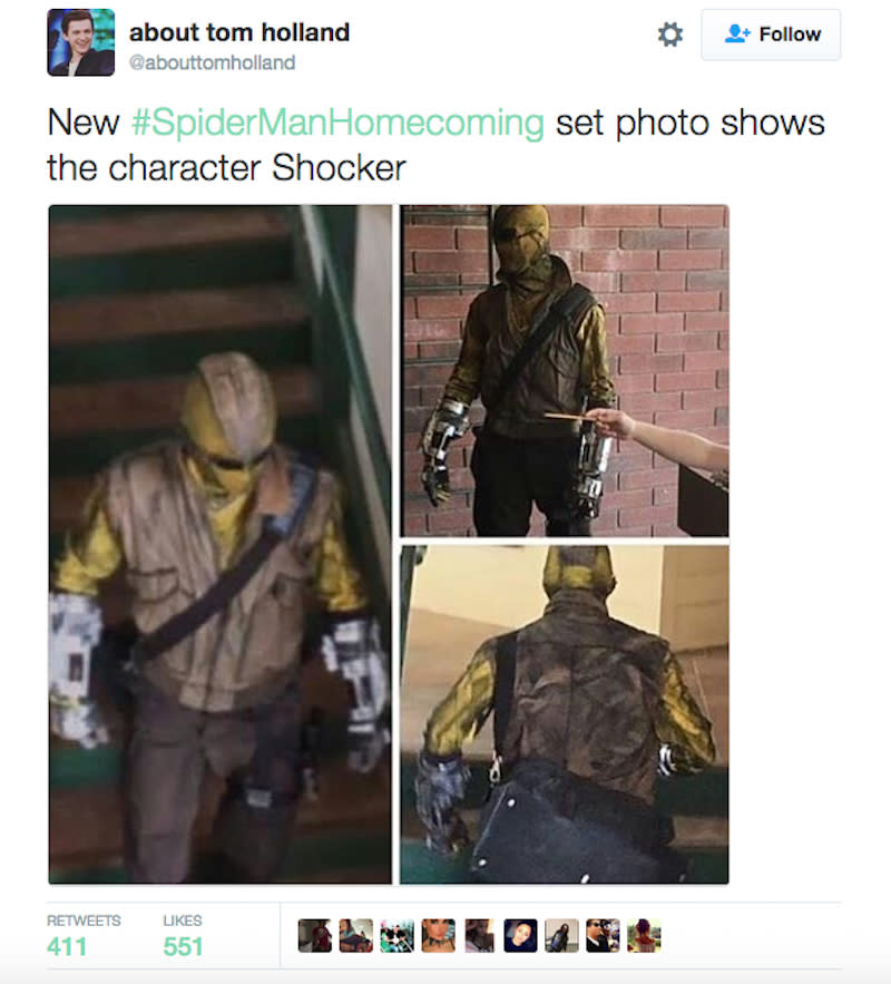 """<p>Sept. 6 photo leaks from the set reveal that the longtime Spidey villain Shocker will join Michael Keaton's Vulture in tormenting the wall-crawler in 'Homecoming.' (Photo: <a href=""""https://twitter.com/abouttomholland/status/772865497364856832"""" rel=""""nofollow noopener"""" target=""""_blank"""" data-ylk=""""slk:@abouttomholland/Twitter"""" class=""""link rapid-noclick-resp"""">@abouttomholland/Twitter</a>)<br></p>"""
