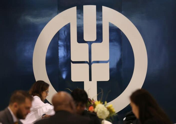 A logo of the Agricultural Bank of China is seen at the SIBOS banking and financial conference in Toronto