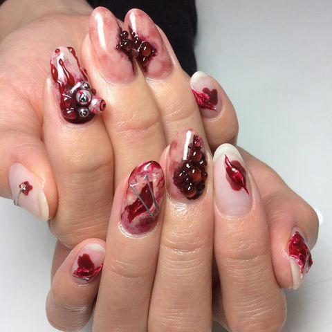 """<p>Get your manicurist to try these gory nails, if they dare. Very cool, but incredibly complex, you'll have to visit a salon that really knows their stuff.</p><p><a href=""""https://www.instagram.com/p/B3eMXEHpmPB/"""" rel=""""nofollow noopener"""" target=""""_blank"""" data-ylk=""""slk:See the original post on Instagram"""" class=""""link rapid-noclick-resp"""">See the original post on Instagram</a></p>"""