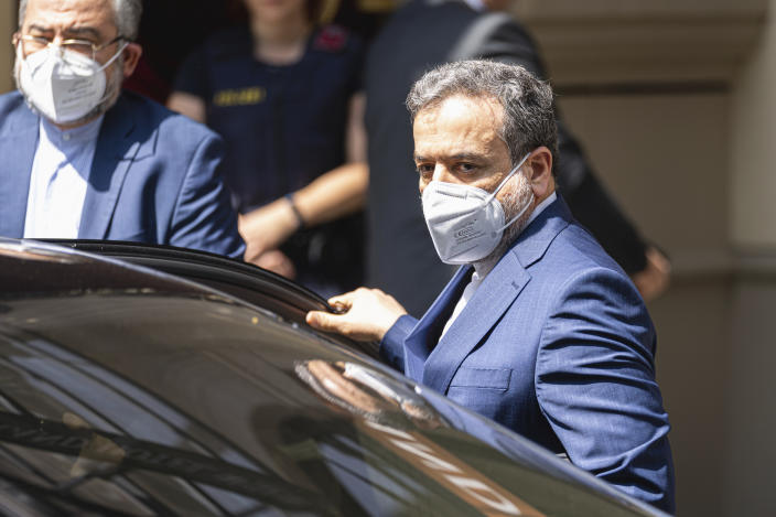 Political deputy at the Ministry of Foreign Affairs of Iran, Abbas Araghchi, arrives in front of the 'Grand Hotel Vienna' where closed-door nuclear talks take place in Vienna, Austria, Sunday, June 20, 2021. (AP Photo/Florian Schroetter)