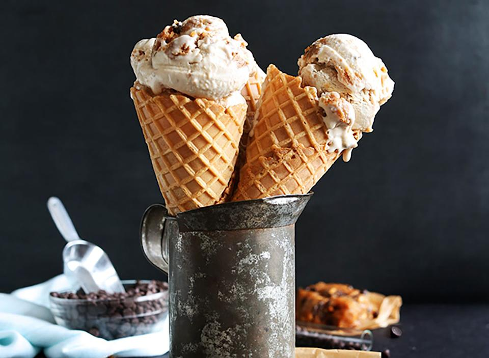 vegan ice cream cones with chocolate chips