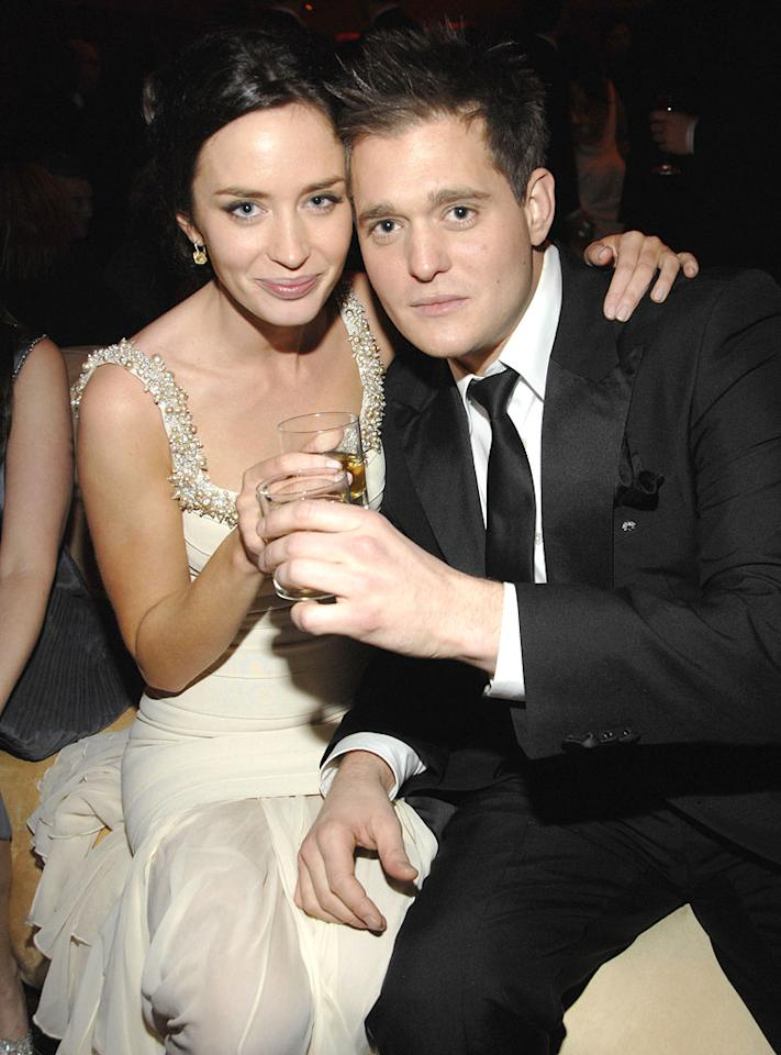 """<a href=""""/emily-blunt/contributor/1137077"""">Emily Blunt</a> and <a href=""""/michael-buble/contributor/58293"""">Michael Buble</a> at the In Style and Warner Bros. 2007 Golden Globe After Party."""
