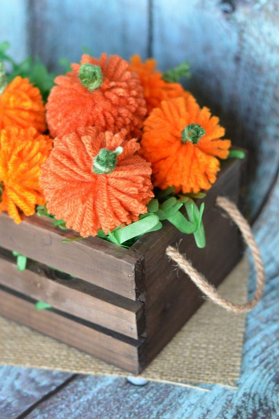 """<p>String these no-sew yarn pumpkins together for a festive fall garland.</p><p><strong>Get the tutorial at <a href=""""https://www.notquitesusie.com/2016/09/easy-diy-yarn-pumpkins-no-sew-pumpkin-garland.html"""" rel=""""nofollow noopener"""" target=""""_blank"""" data-ylk=""""slk:Not Quite Susie"""" class=""""link rapid-noclick-resp"""">Not Quite Susie</a>.</strong> </p>"""