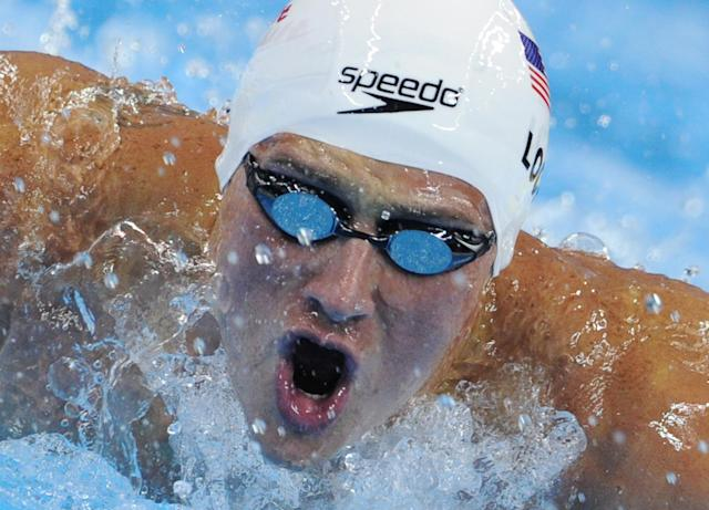 US swimmer Ryan Lochte competes in the heats of the men's 200-metre individual medley swimming event in the FINA World Championships at the indoor stadium of the Oriental Sports Center in Shanghai on July 27, 2011. AFP PHOTO / MARK RALSTON (Photo credit should read MARK RALSTON/AFP/Getty Images)