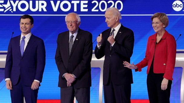 PHOTO: From left, Democratic presidential candidates Pete Buttigieg, Sen. Bernie Sanders, Sen. Elizabeth Warren, and former Vice President Joe Biden, arrive for a presidential primary debate at St. Anselm College, Feb. 7, 2020 in Manchester, N.H. (Win McNamee/Getty Images)
