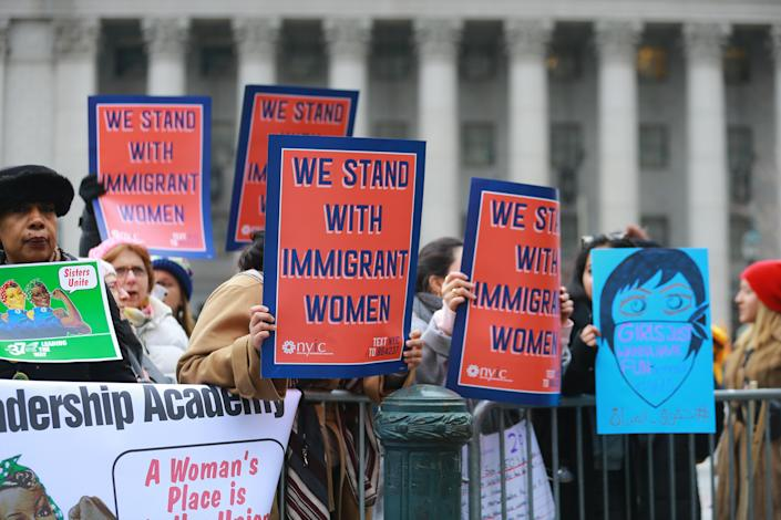 People participate in the Women's Unity Rally hosted by a chapter of Women's March National on Jan. 19, 2019 at Foley Square in New York City. (Photo: Gordon Donovan/Yahoo News)