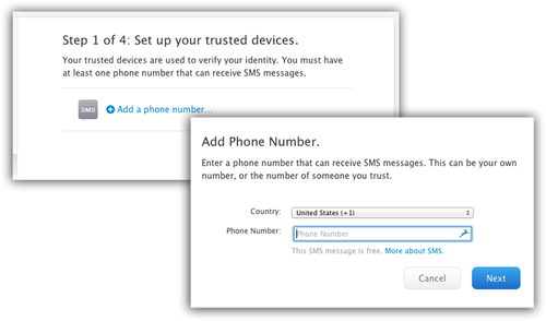 Add a Phone number screen for iCloud