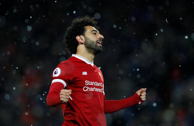 "Soccer Football - Premier League - Liverpool vs Watford - Anfield, Liverpool, Britain - March 17, 2018 Liverpool's Mohamed Salah celebrates scoring their fourth goal REUTERS/Phil Noble EDITORIAL USE ONLY. No use with unauthorized audio, video, data, fixture lists, club/league logos or ""live"" services. Online in-match use limited to 75 images, no video emulation. No use in betting, games or single club/league/player publications. Please contact your account representative for further details."