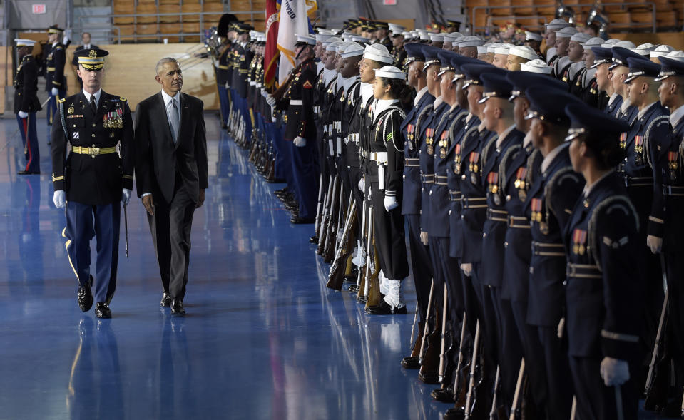 President Barack Obama reviews the troops during an Armed Forces Full Honor Farewell Review for him, Wednesday, January 4, 2017, at Conmy Hall, Joint Base Myer-Henderson Hall.