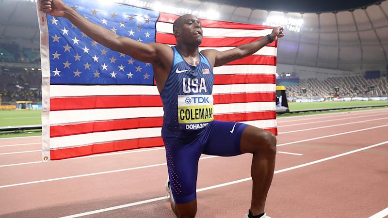 Christian Coleman, pictured here after winning gold in the 100 metres final at the 2019 IAAF World Athletics Championships.