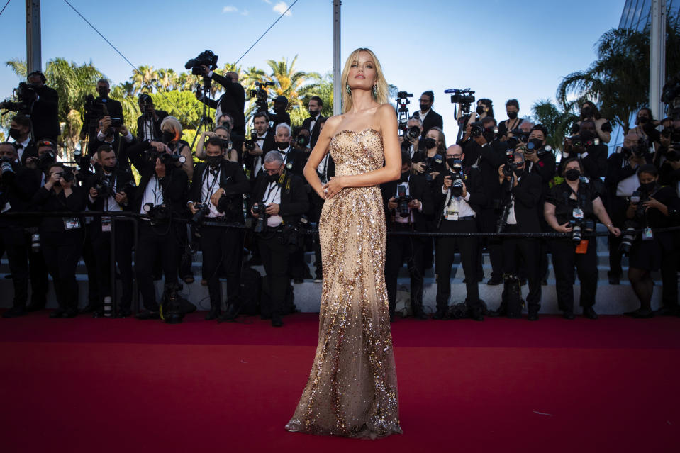 FILE - In this July 8, 2021 file photo Frida Aasen poses for photographers upon arrival at the premiere of the film 'Stillwater' at the 74th international film festival, Cannes, southern France. (Photo by Vianney Le Caer/Invision/AP, File)