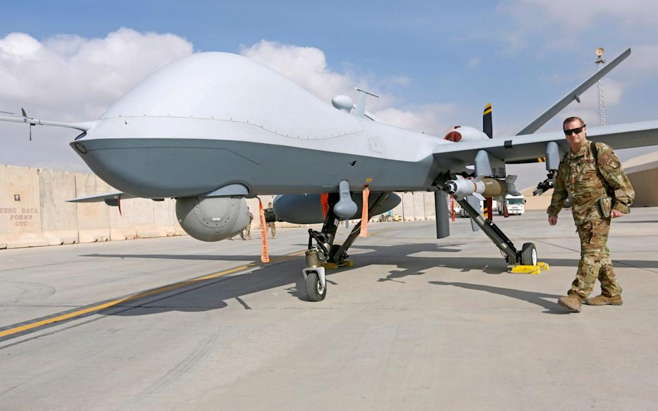 A MQ-9 Reaper drone pictured in Afghanistan in 2018. The same model is thought to have been used in the US assassination of Iranian general Qasem Soleimani.  - Omar Sobhani/Reuters