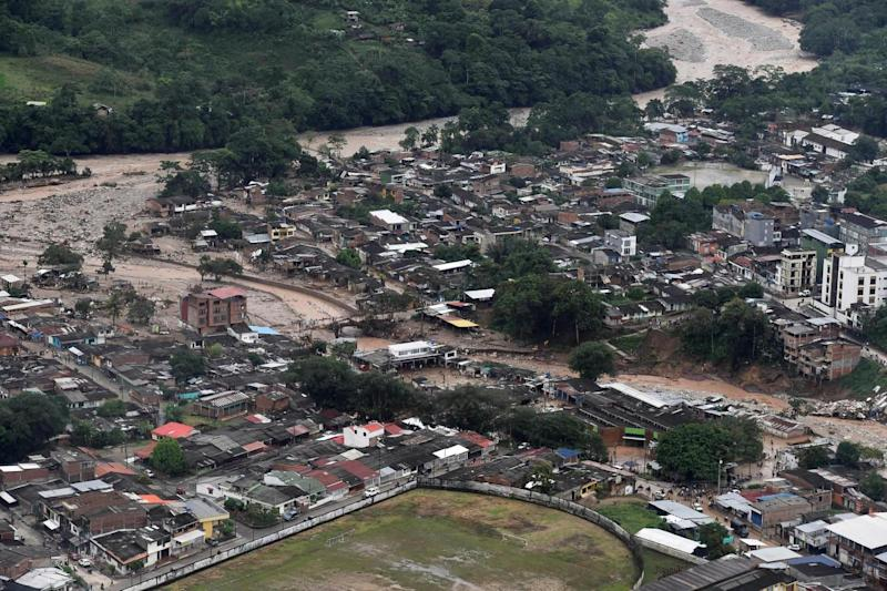 An aerial view shows a flooded area after heavy rains caused rivers to overflow (REUTERS)