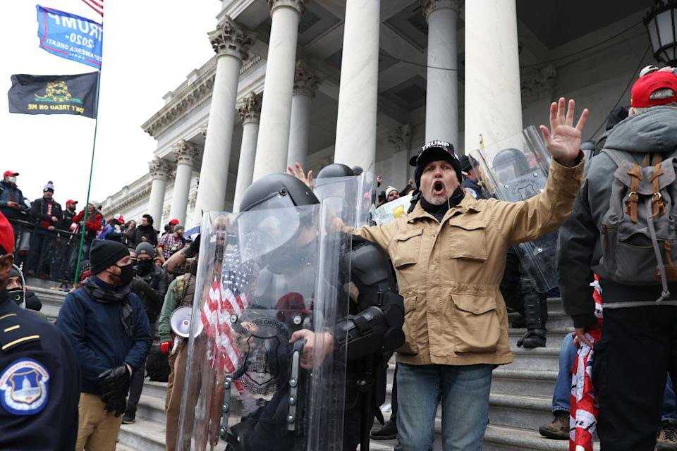 Protesters gather at the US Capitol Building in Washington, DC.