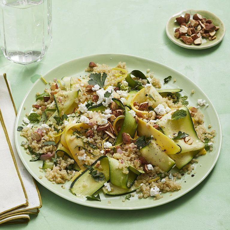"""<p>Quinoa is packed with protein and fiber, making this salad extra filling. <br></p><p><em><a href=""""https://www.womansday.com/food-recipes/food-drinks/a28353953/marinated-summer-squash-salad-recipe/"""" rel=""""nofollow noopener"""" target=""""_blank"""" data-ylk=""""slk:Get the Marinated Summer Squash Salad recipe."""" class=""""link rapid-noclick-resp"""">Get the Marinated Summer Squash Salad recipe.</a></em></p>"""