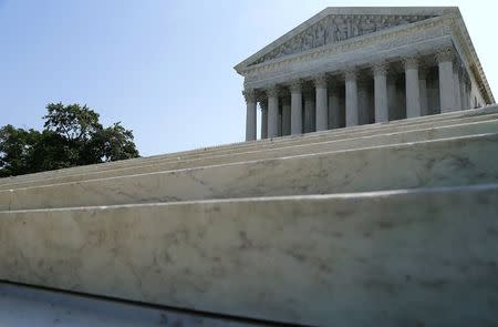 A general view of the front steps of the U.S. Supreme Court building is seen in Washington