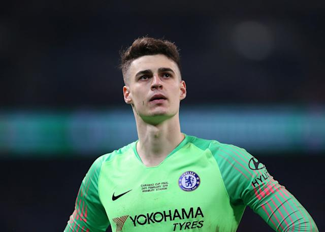 "<a class=""link rapid-noclick-resp"" href=""/soccer/teams/chelsea/"" data-ylk=""slk:Chelsea"">Chelsea</a> goalkeeper Kepa Arrizabalaga has been punished over his League Cup final behavior. (Getty)"