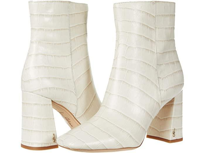 sam edelman, white boots, ankle boots, square toe boots