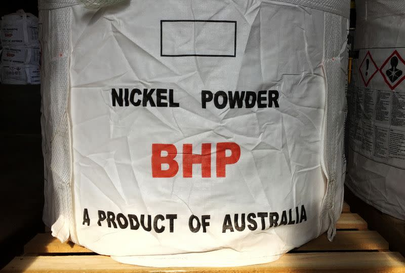 A tonne of nickel powder made by BHP Group sits in a warehouse at its Nickel West division, south of Perth
