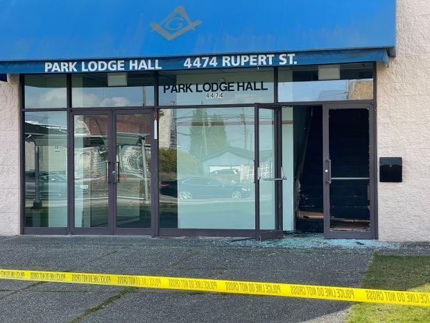 The entrance to the Park Lodge Masonic Hall near Rupert St. and 29th Ave. in Vancouver has been taped off. Police said they were investigating an arson.